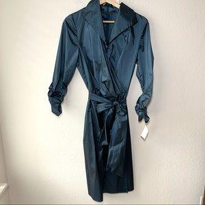 NWT Tadashi Shoji Faux Wrap Blue Midi Dress 12